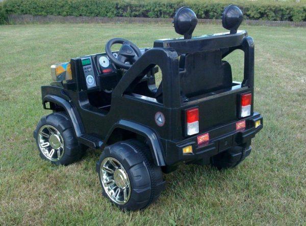 Voiture électrique pour enfant Hummer 12V noir monoplace vue de derrière