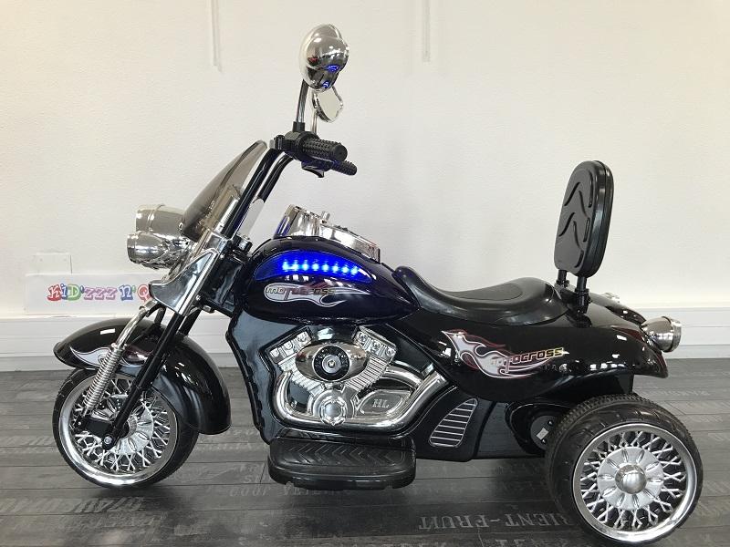 moto pour enfant 12V noir métal vu de côté