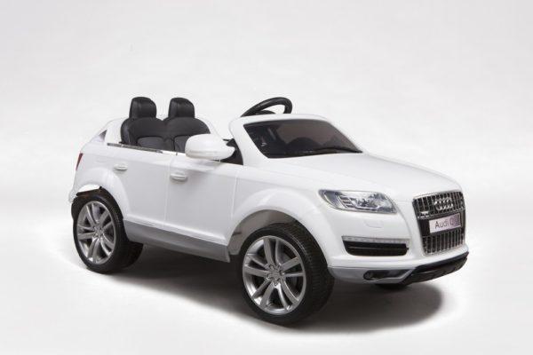 4X4 électrique enfant Audi Q7 blanc 12V - Vue 3/4 avant