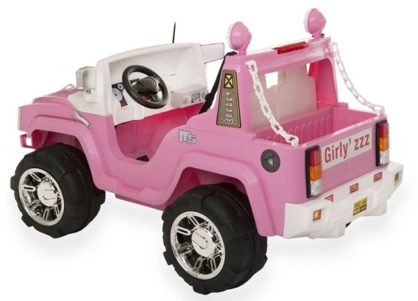4X4 électrique enfant Hummer rose Girly'zzz - Vue 3/4 arrière gauche