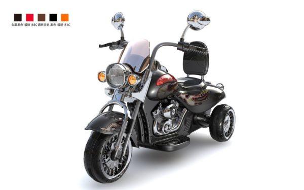 Moto électrique enfant Harley Davidson HL500 noire vue 3/4 avant