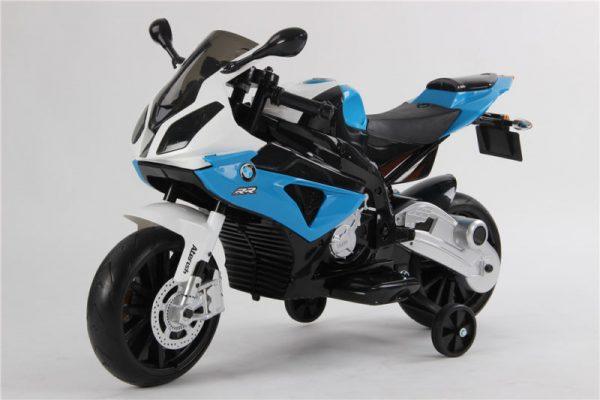 Moto électrique enfant BMW S1000RR - Bleue - Vue de côté