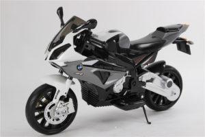 Moto électrique enfant 12V BMW S1000RR - Noire - vue 3/4 avant