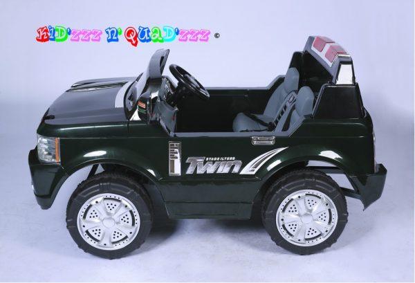 Voiture électrique enfant inspirée Range Rover de couleur noir vue de profil