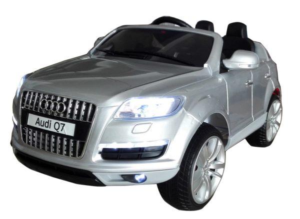 Voiture électrique enfant Audi Q7 gris metal 12V - Vue 3/4 avant