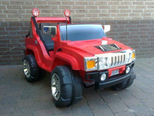 4X4 électrique enfant Hummer 12V biplace rouge vue de face