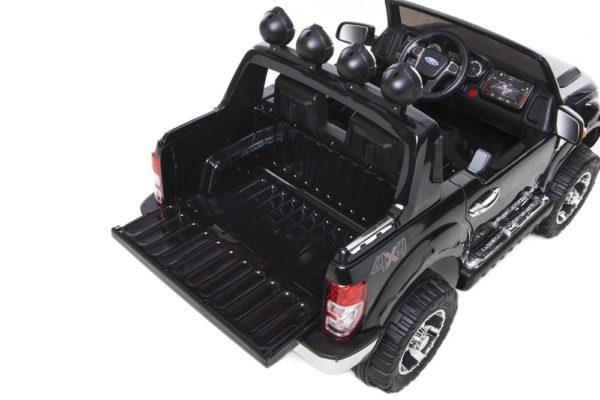 Ford Ranger électrique 12V pour enfant noir - Coffre ouvert