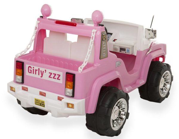 4X4 électrique enfant Hummer rose Girly'zzz - Vue 3/4 arrière droite